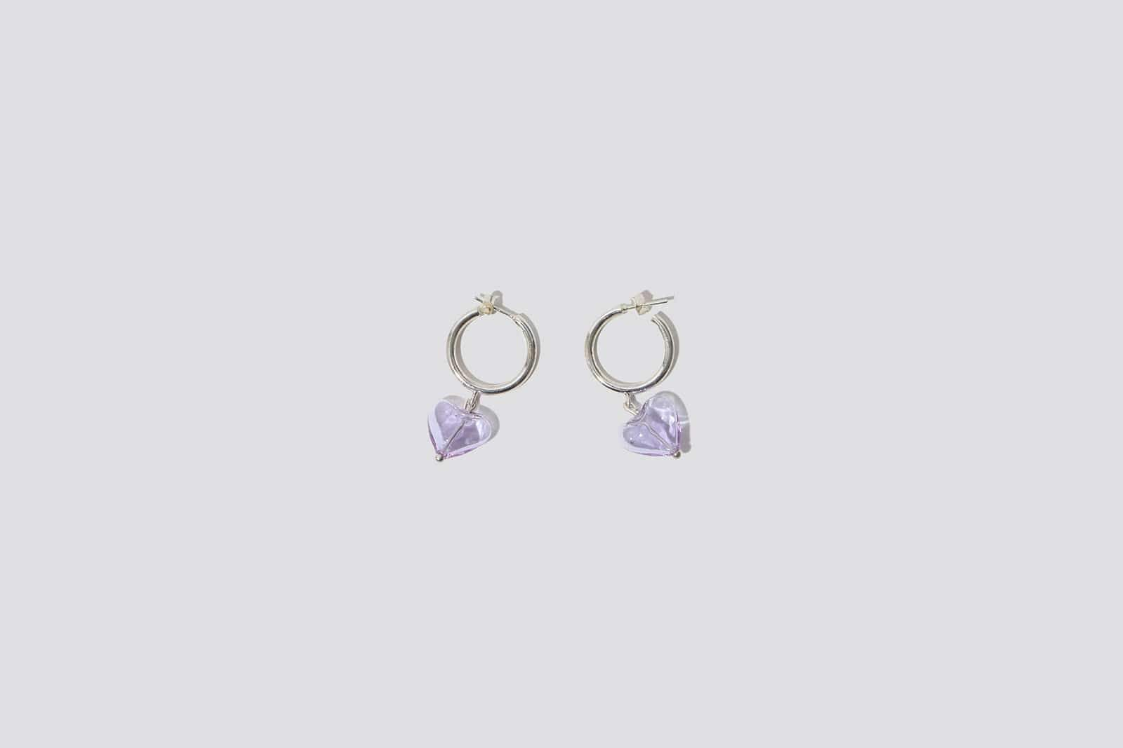 Lavender Heart Drop Hoop Earrings - MAIMOUN