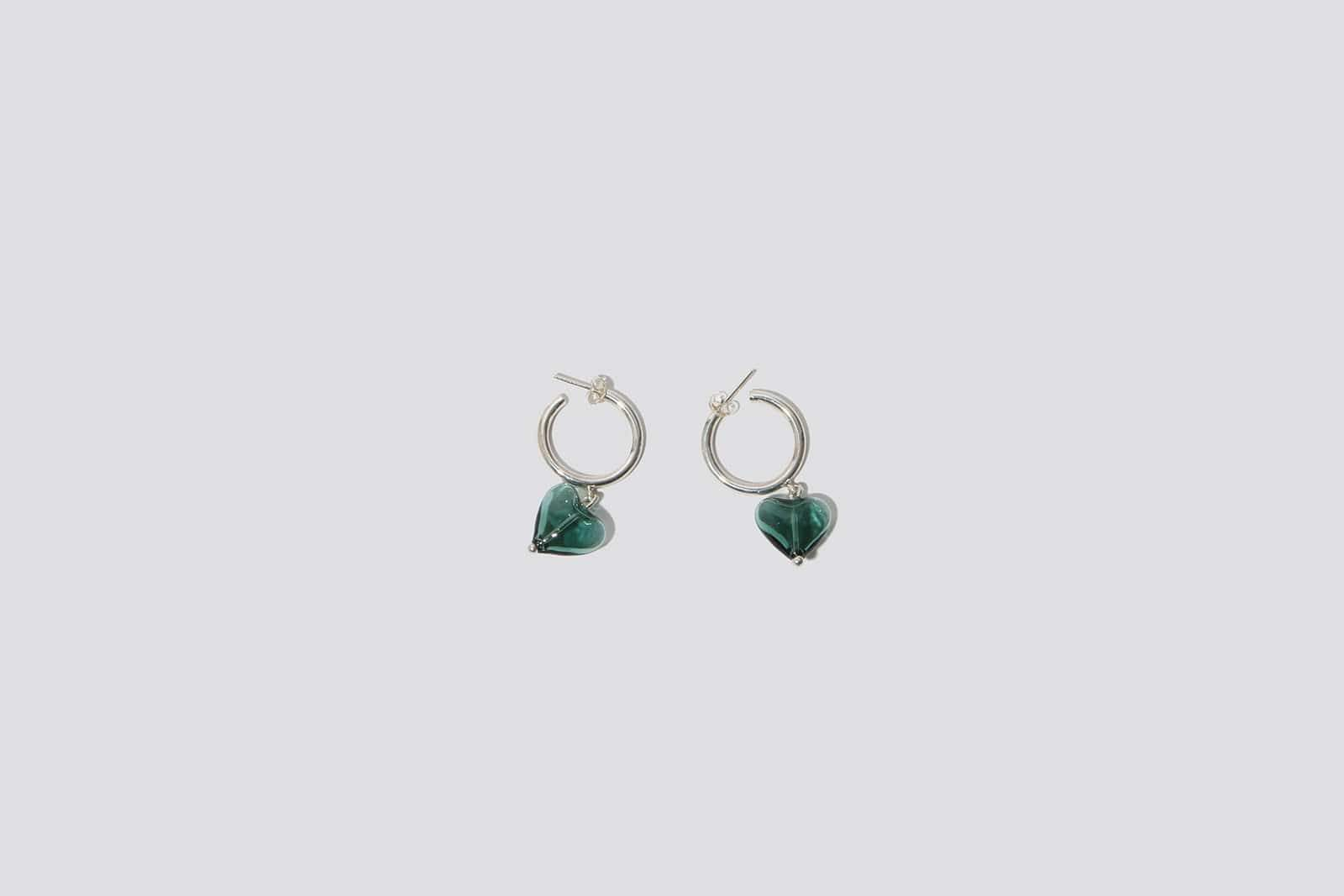 Teal Heart Drop Hoop Earrings - MAIMOUN