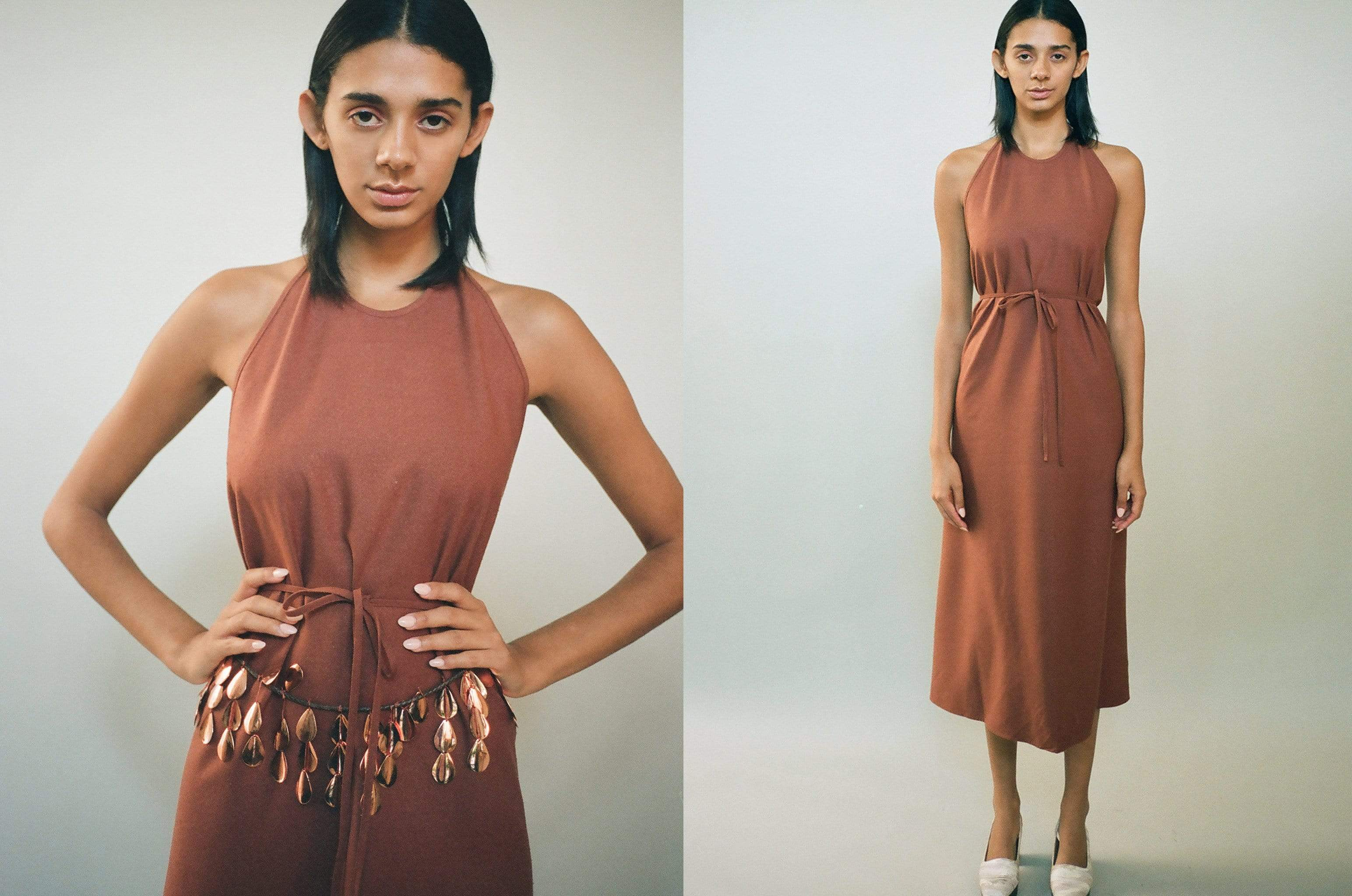 Maimoun Baserange Rust Apron Dress