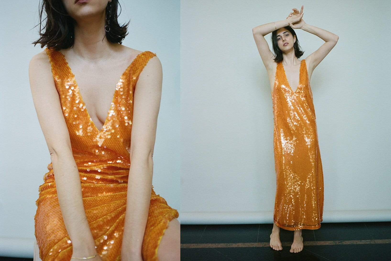 V Neck Sequin Dress - MAIMOUN