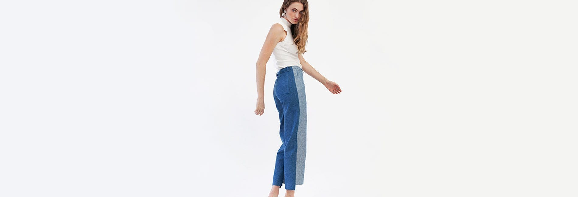 Two-Tone Denim Trouser - MAIMOUN