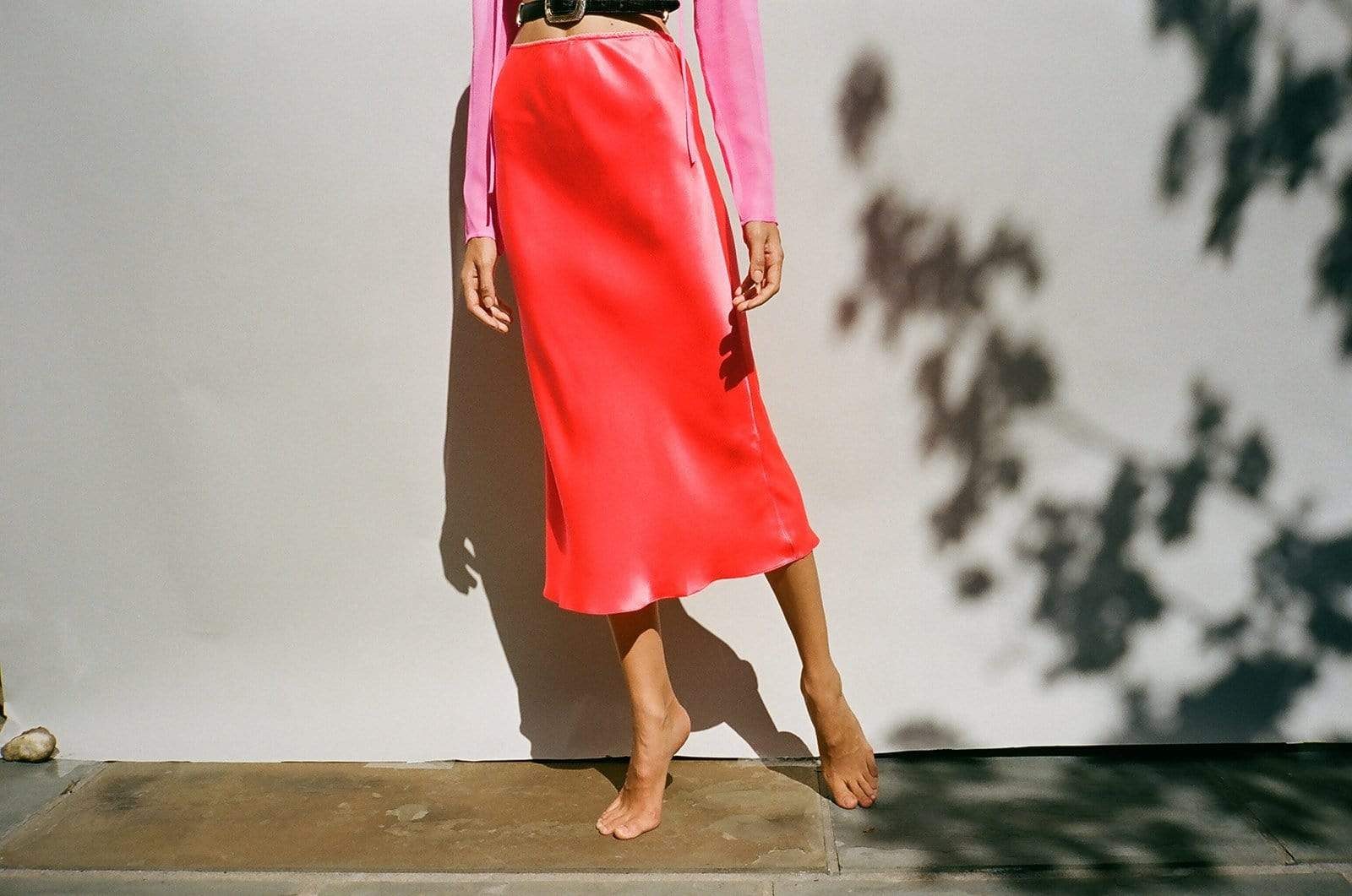 Neon Orange Slip Skirt - MAIMOUN