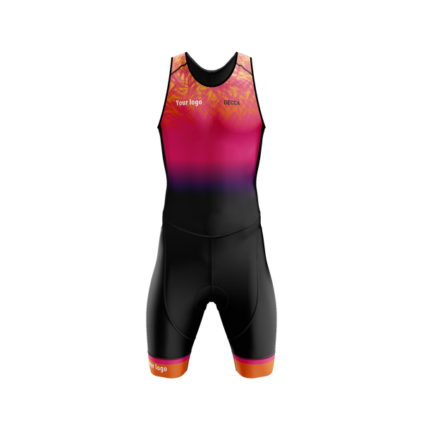 Pro Triathlon Sleeveless Open Back Trisuit - Orange Leaves