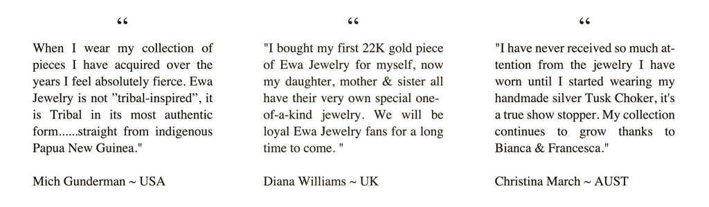 Ewa Tribal Jewelry Customer Feedback