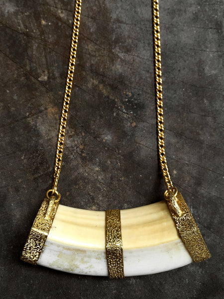 Antique Reclaimed Tusk ~ 22K Gold & Recycled Diamond Pendant Necklace ~ Price On Request