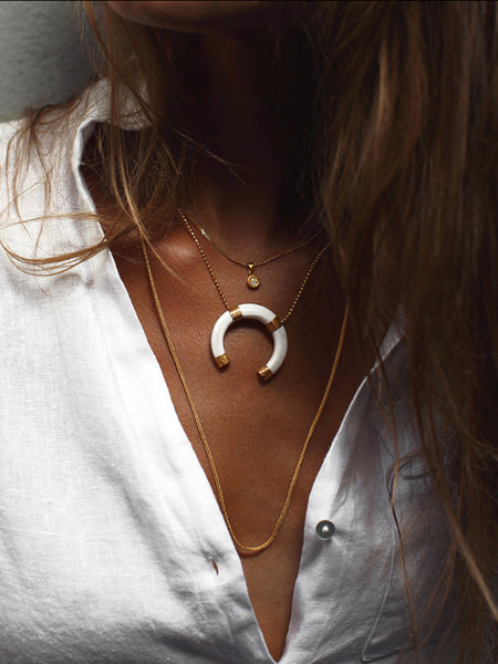 Half-Moon Kualia Shell & 22K Gold Pendant Necklace