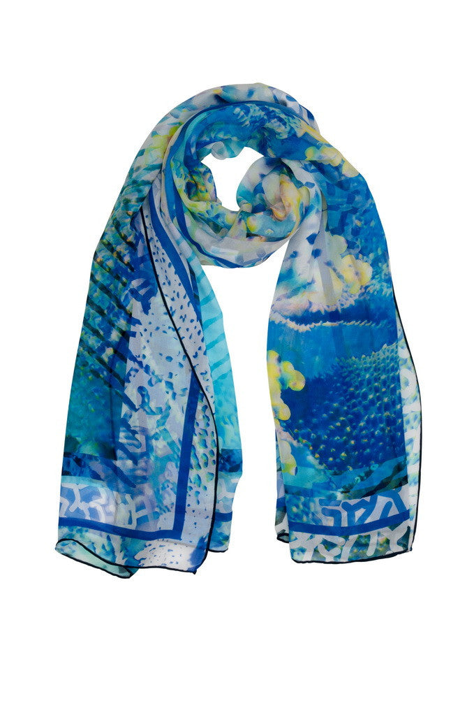 "Coral Sea reflections scarf. Inspired by the texture of the sand, sea and coral, this luxurious 100% silk scarf will bring the freshness of a tropical island to your holiday wardrobe. Team with a Coral & Co Kimono Jacket, Slimline long sleeveless jacket, Mid-length or Long Length Dress, Long Line Tunic Top, Skirt or Kaftan for the color coordinated Coral & Co Look. One Size Fits All. Generous sized rectangle shaped scarf. Length: 66"" 175cm Width: 25 1/2"" / 65cm. Fabric:100% Silk Chiffon 8mm. Country of Origin: China. Designed in Australia. Model is 172cm/5'7.5"" tall: Bust: 105cm/41.5"", Waist: 90cm/35.5"", Hips: 115cm/45.5"". Product Code: CWS16A0001P3-8481"