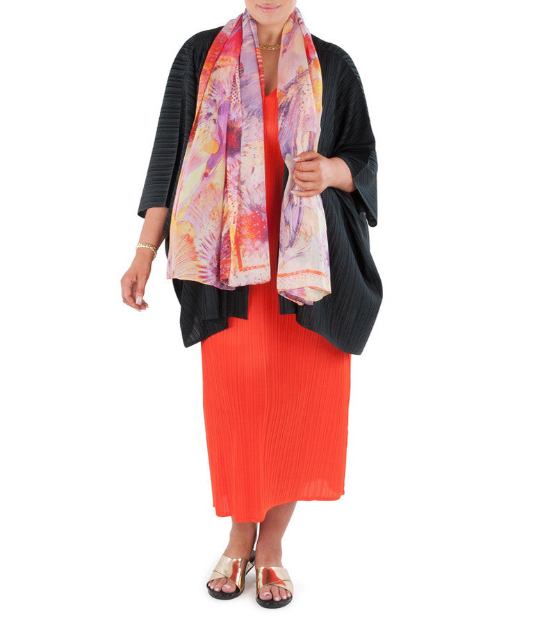 "A cover-up that will add confidence and glamor, adding a finishing touch to that special outfit or just that little extra warmth on a cool day or evening.  Team with a Coral & Co Mid-length or Long dress, Long Line Top, Box Tee and one of our luxurious Silk Scarves, for the color coordinated Coral & Co Look.  Oversized style, cut to be worn loose. Elbow length sleeve, Center opening. Length from shoulder to hem approx. 28 1/4"" / 72cm. Body Contouring Slimline permanent micro pleating.  Fabric: 100% Permanent Pleated Polyester Knit, Machine Washable, Non-iron. Country of Origin: China / Australia. Designed and Made in Australia.  Model is 173cm/5'8"" and is wearing a size 16.  Product Code: CWS16J0002 - 00"