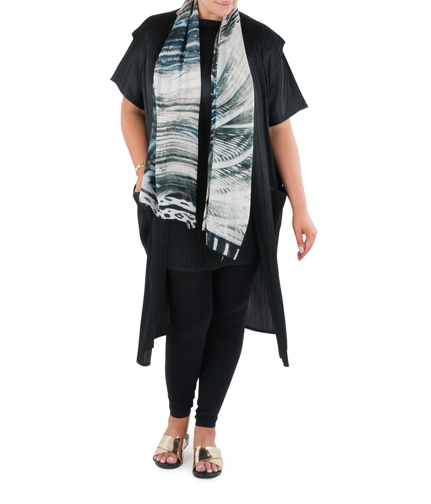 "Brighten up your day or evening with this elegant and sophisticated 100% silk scarf, which brings together all the diversity of form, freshness and play of light and dark as night falls on Australia's tropical water wonderland.Team with a Coral & Co Kimono Jacket, Slimline long sleeveless jacket, Mid-length or Long Length Dress, Long Line Tunic Top, Skirt or Kaftan for the color coordinated Coral & Co Look. One Size Fits All. Generous sized rectangle shaped scarf. Length: 66"" 175cm. Width: 25 1/2"" / 65cm. Fabric:100% Silk Chiffon 8mm. Country of Origin: China. Designed in Australia. Model is 172cm/5'7.5"" tall: Bust: 105cm/41.5"", Waist: 90cm/35.5"", Hips: 115cm/45.5"". Product Code: CWS16A0001-0010"