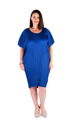 Hi-Lo Box Pleat Top - BLUE WARATAH