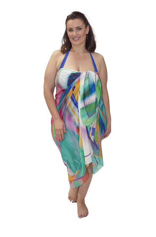 Sarong Coral Sea Reflections (Silk - Cotton)