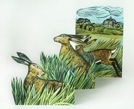 Hares and Open Field by Angela Harding Die Cut Fold Out Greeting Card
