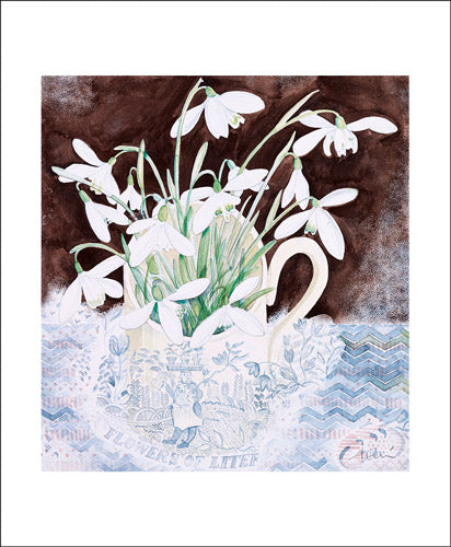 Snowdrop Cup Watercolour by Angie Lewin Greeting Card