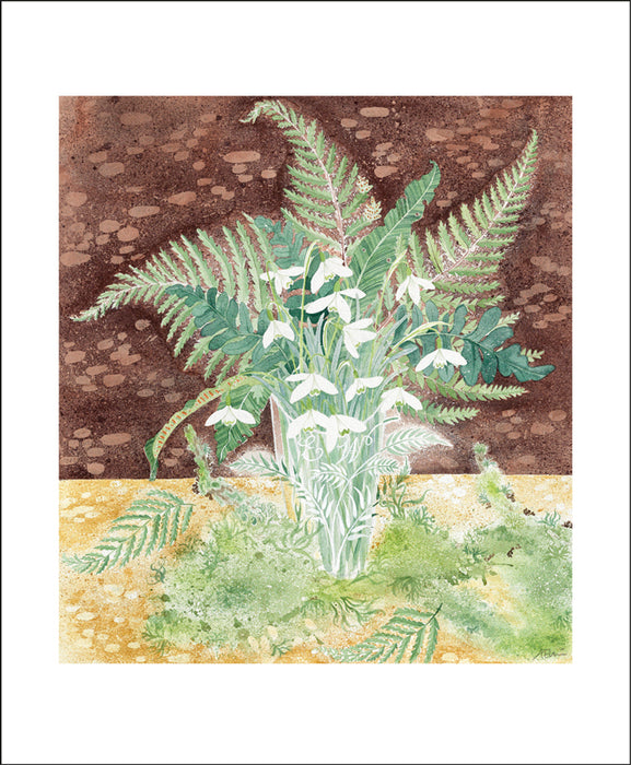 Snowdrops and Ferns by Angie Lewin Greeting Card
