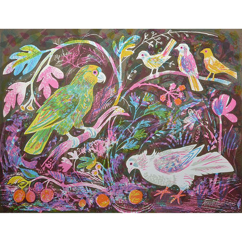 Still Life With Amazon Parrots By Mark Hearld