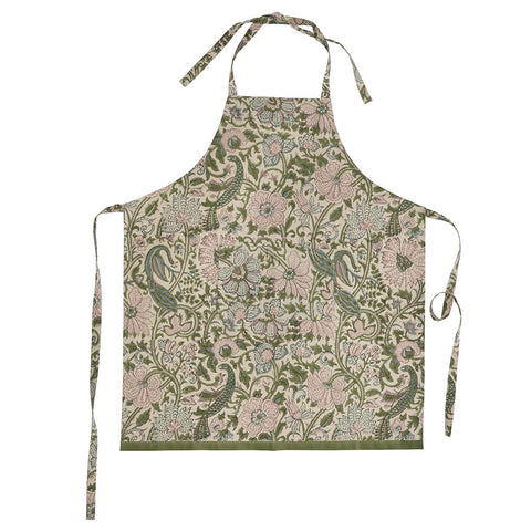 Cotton Apron in Peacock Fern