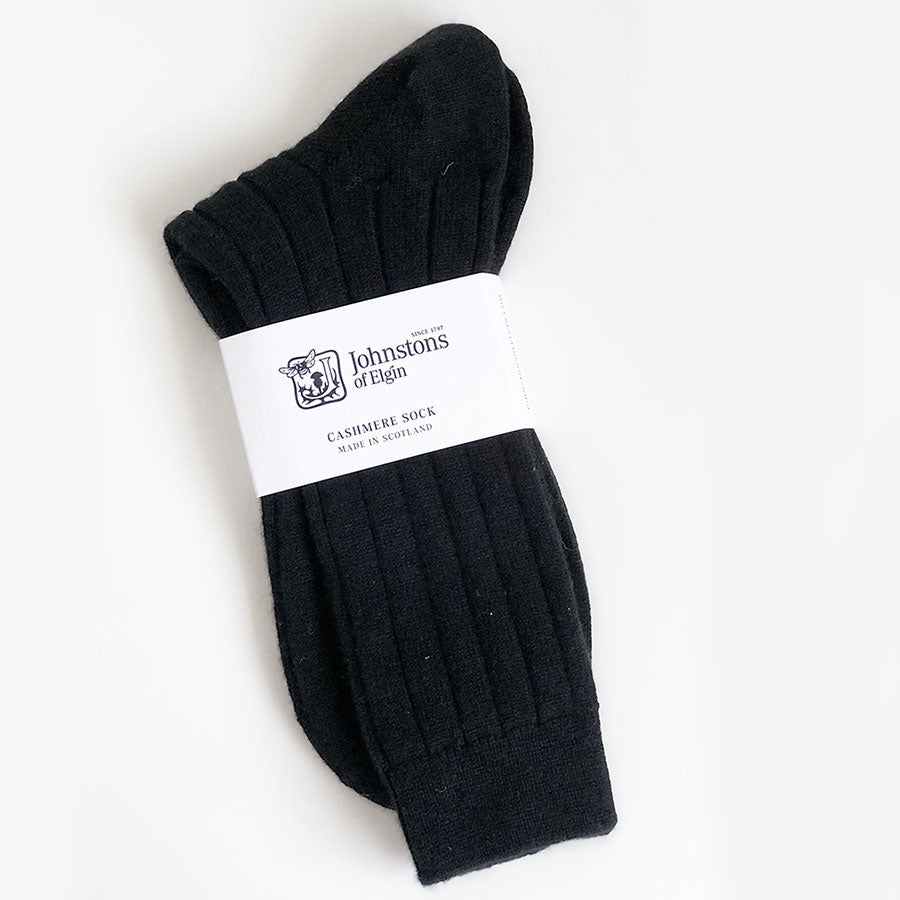 Men's Cashmere Socks in Black