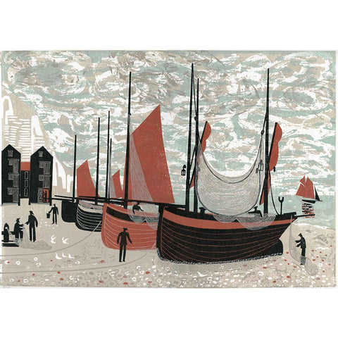 Boats on the Beach at Hastings By Melvyn Evans