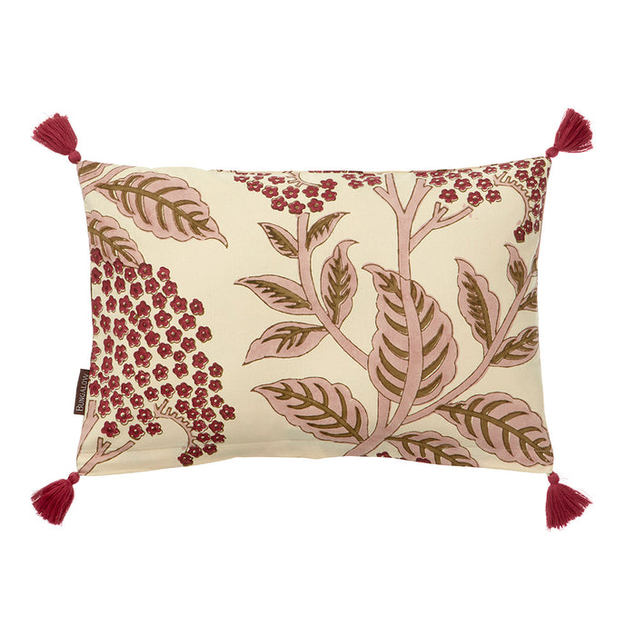 Cotton Block Printed Cushion Elderflower Rose