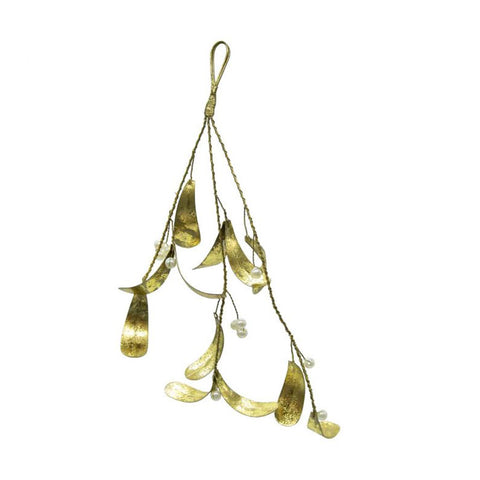 Hanging Golden Mistletoe with Pearls