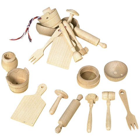 10 Piece Wooden Children's Miniature Toys