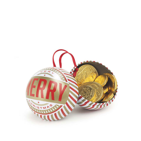 Chocolate Coin Filled Tin Bauble