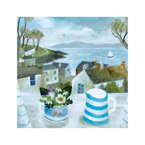 Cornish Jug, Garden Flowers By Sarah Bowman Greeting Card