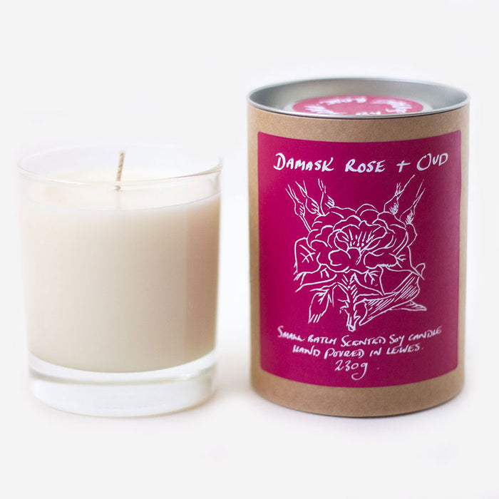 Damask Rose + Oud Scented Soy Candle
