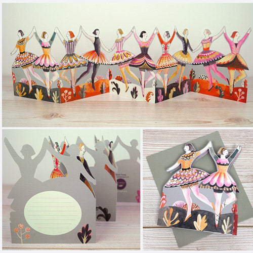 Dancers Die Cut Fold Out Chain Greeting Card