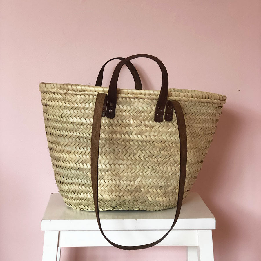 Esther Hand Woven Basket with Leather Handles in Midi