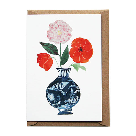 Poppies, Tea Rose Greeting Card