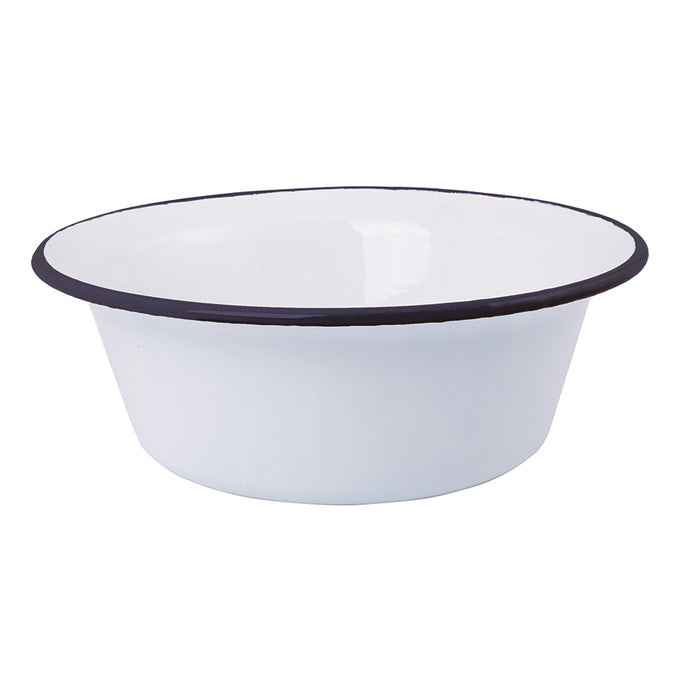 Large Enamel Bowl in Navy and White