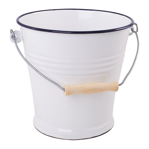 Large Enamel Bucket in Navy and White