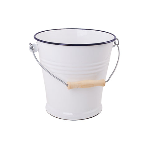 Small Enamel Bucket in Navy and White