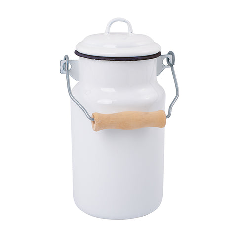 Enamel 1L Milk Can in Navy and White