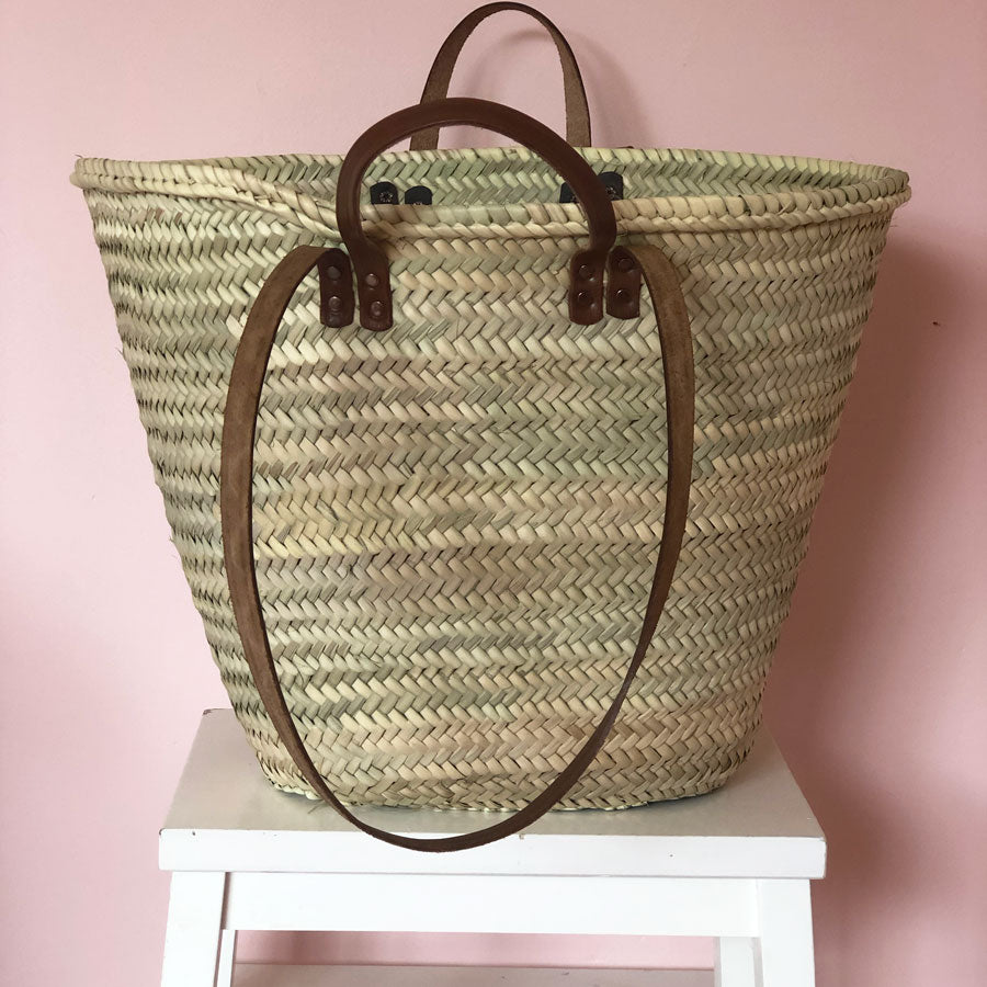 Esther Hand Woven Basket with Leather Handles in Maxi