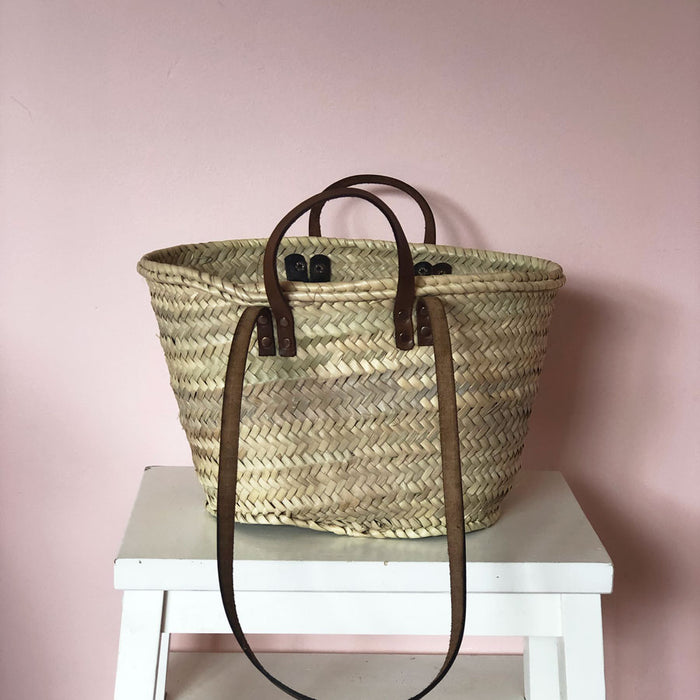 Esther Hand Woven Basket with Leather Handles in Mini