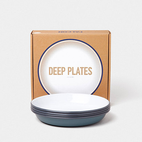 Falcon Enamelware Deep Plates in Pigeon Grey