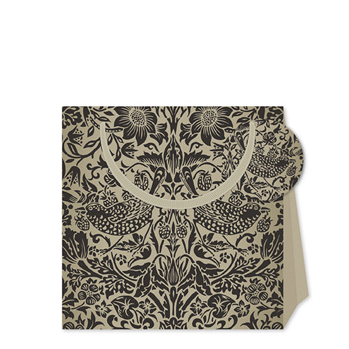 William Morris Small Gift Bag in Black Strawberry Thief
