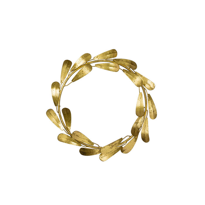 Golden Mistletoe Leaf Wreath