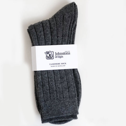 Men's Cashmere Socks in Granite Grey
