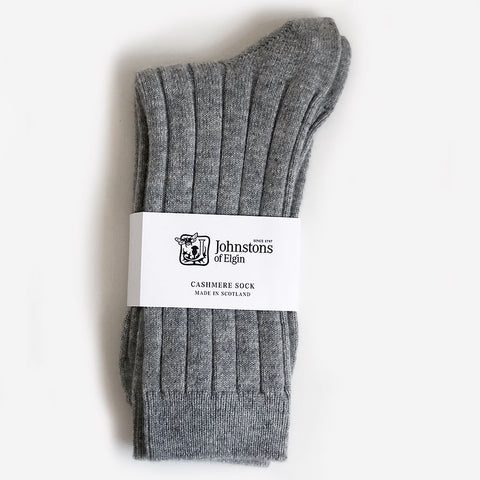 Men's Cashmere Socks in Light Grey