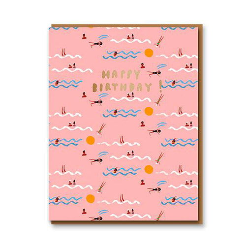 Swimmers Happy Birthday Greeting Card