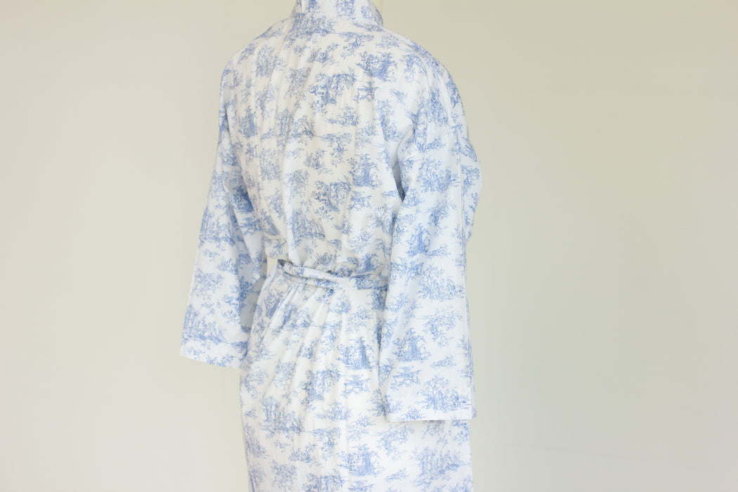 Cotton Kimono Robe and Wash Bag in Blue Toile