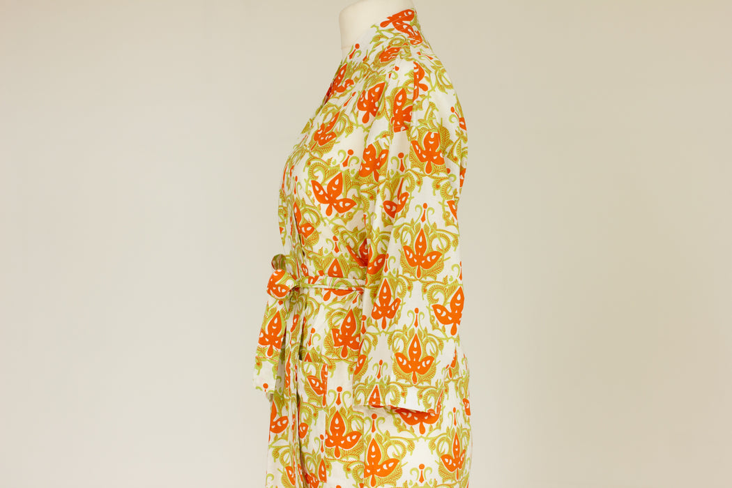 Cotton Kimono Robe and Wash Bag in Citron