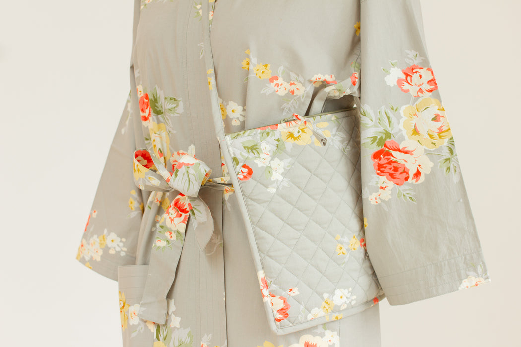 Cotton Kimono Robe and Wash Bag in Vintage Rose