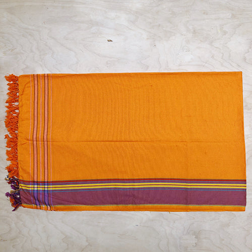 Cotton Kikoy in Pale Orange/Violet Border