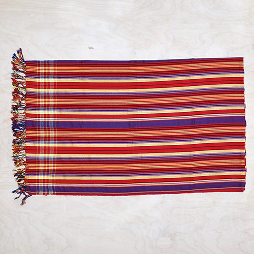 Cotton Kikoy in Red/Yellow/Indigo Stripe