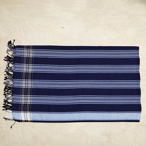 Cotton Kikoy in Navy Blue/White Stripe