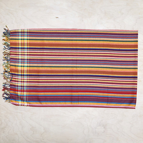 Cotton Kikoy in Multi/Yellow/Brown/Peach Stripe